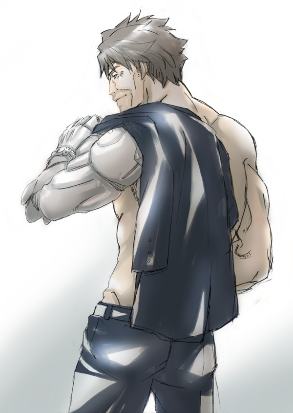 1boy black_pants brown_hair from_behind jacket_over_shoulder male_focus masaoka_tomomi mechanical_arm millipen_(medium) old old_man pants prosthesis prosthetic_arm psycho-pass shirtless short_hair simple_background sketch solo standing taketake09190920 toned toned_male traditional_media white_background