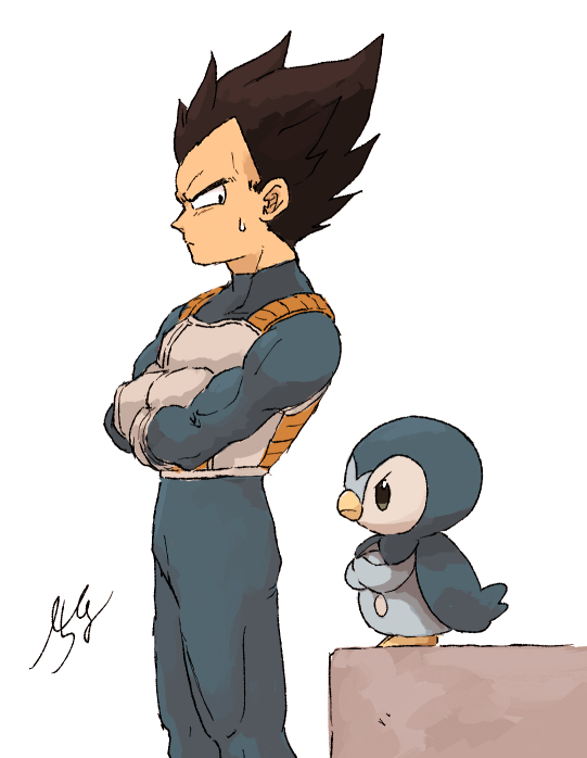 1boy armor black_eyes black_hair bodystocking chima_po001 closed_mouth commentary_request crossed_arms crossover dragon_ball dragon_ball_z facing_away feet_out_of_frame from_side frown gen_4_pokemon gloves height_difference looking_afar looking_at_viewer looking_down looking_to_the_side male_focus muscular o_o piplup pokemon pokemon_(creature) profile serious signature simple_background spiky_hair standing sweatdrop vegeta white_background white_gloves