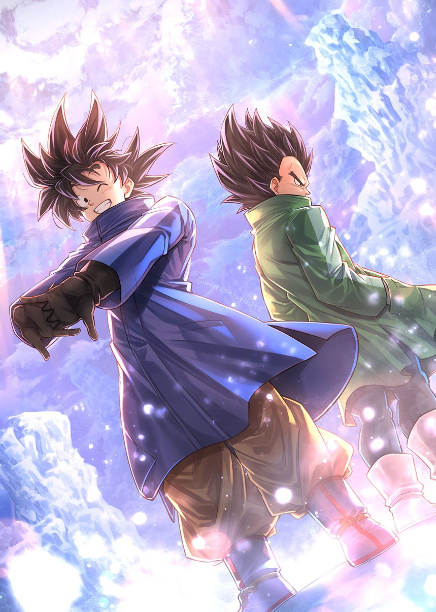 2boys ;) ankle_boots back-to-back backlighting black_eyes black_gloves black_hair black_legwear blue_coat blue_footwear boots clenched_teeth coat covered_mouth day dragon_ball dragon_ball_super dragon_ball_super_broly dutch_angle facing_away frown full_body gloves grin hand_in_pocket high_collar highres ice interlocked_fingers legs_apart light_particles light_rays looking_at_viewer male_focus mattari_illust messy_hair mountain multiple_boys one_eye_closed orange_pants outdoors outstretched_arms own_hands_together pants profile serious smile snow son_goku standing stretch sunlight teeth twitter_username vegeta vignetting white_footwear winter_clothes winter_coat