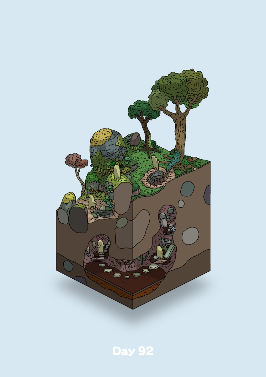 afterimage blue_background commentary_request diorama gozz highres isometric moss olmec_head original overgrown stairs stepping_stones tree underground