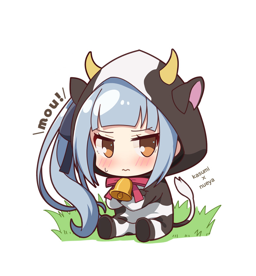 1girl alternate_costume animal_costume animal_ears animal_print bell bell_collar blush brown_eyes chibi collar commentary_request cow cow_costume cow_ears cow_girl cow_horns cow_print cow_tail cowbell crossed_arms eyebrows_visible_through_hair grass hair_ribbon hood hoodie horns kantai_collection kasumi_(kantai_collection) long_hair long_sleeves looking_at_viewer nueco remodel_(kantai_collection) ribbon side_ponytail silver_hair simple_background sitting solo sweatdrop tail white_background