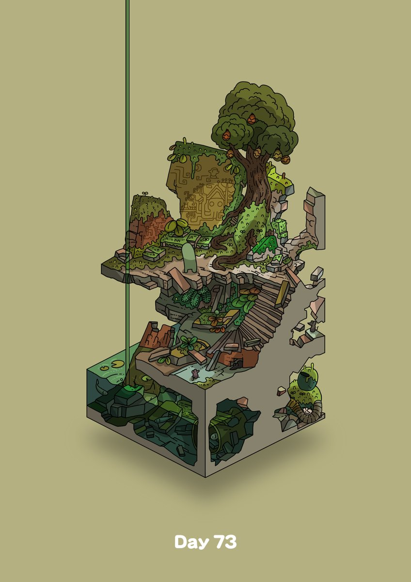 commentary_request diorama food fruit gozz highres isometric lily_pad mural original overgrown plant rat ruins squid stairs tree water yellow_background