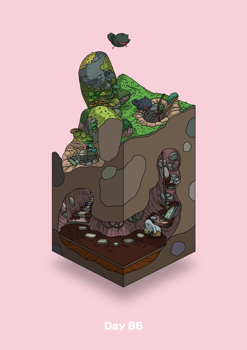 commentary_request diorama flying gozz highres isometric moss olmec_head original overgrown pink_background pot stairs stepping_stones underground