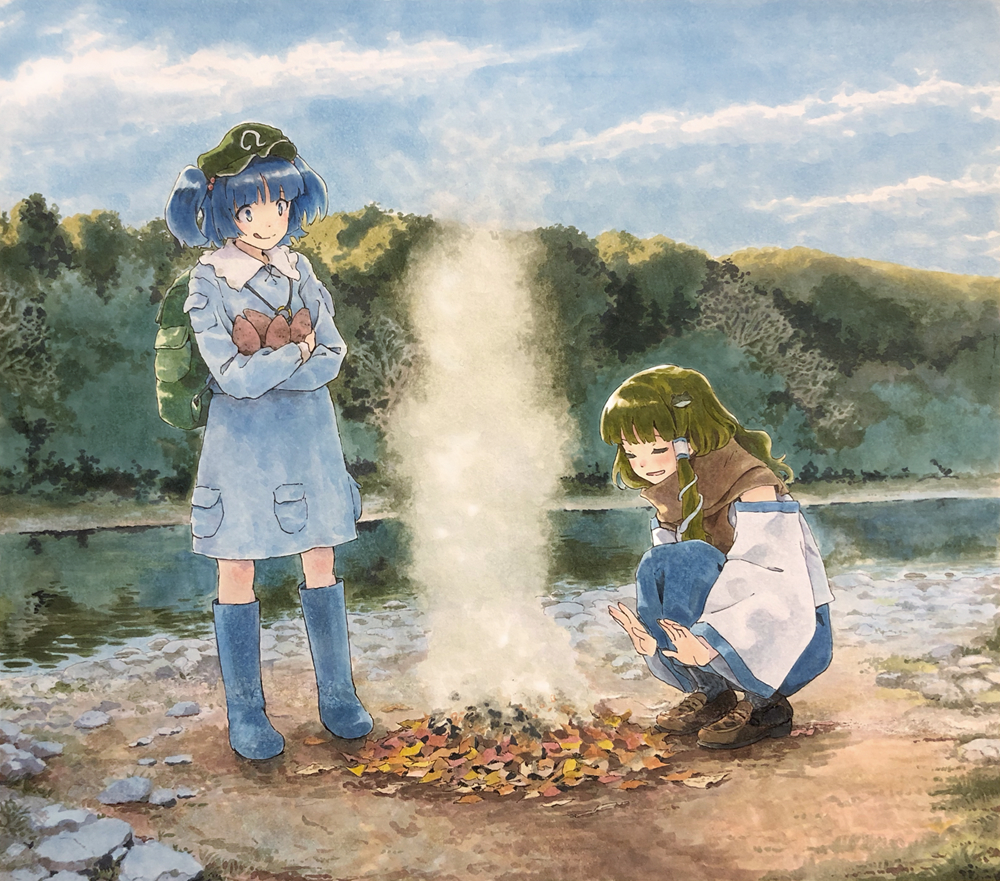 2girls :q adapted_costume backpack bag bangs blue_eyes blue_footwear blue_hair blue_shirt blue_skirt blue_sky blunt_bangs blush bonfire boots brown_footwear brown_neckwear brown_scarf burning camping closed_eyes clouds cloudy_sky collared_shirt commentary_request crossed_arms day detached_sleeves fire flat_cap food forest frilled_shirt_collar frills frog_hair_ornament green_bag green_hair green_headwear hair_bobbles hair_ornament hair_tubes hat holding holding_food kawashiro_nitori key knee_boots kochiya_sanae licking_lips loafers long_hair long_skirt long_sleeves marker_(medium) multiple_girls nature open_mouth outdoors pocket river rock rubber_boots scarf scenery shiratama_(hockey) shirt shoes shore short_hair short_twintails skirt skirt_set sky sleeveless sleeveless_shirt snake_hair_ornament squatting standing sweet_potato tongue tongue_out touhou traditional_media twintails warming warming_hands white_shirt wide_sleeves yakiimo