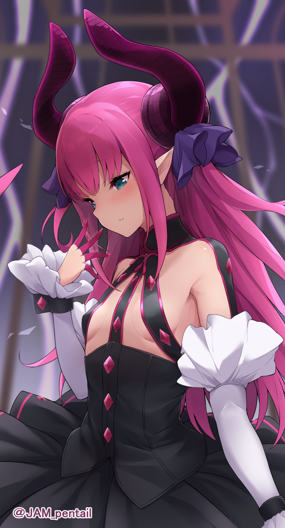 1girl blue_eyes blush breasts curled_horns detached_sleeves dragon_horns elizabeth_bathory_(fate) elizabeth_bathory_(fate)_(all) eyebrows_visible_through_hair fang fate/extra fate/extra_ccc fate/grand_order fate_(series) hair_between_eyes hair_ribbon highres horns jampen long_hair long_sleeves looking_away pink_hair pointy_ears purple_ribbon ribbon small_breasts solo two_side_up white_sleeves