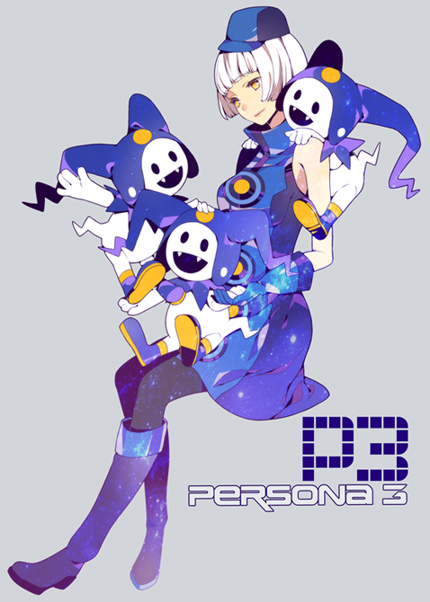 bare_shoulders boots elizabeth_(persona) gloves hat jack_frost macco pantyhose persona persona_3 white_hair yellow_eyes