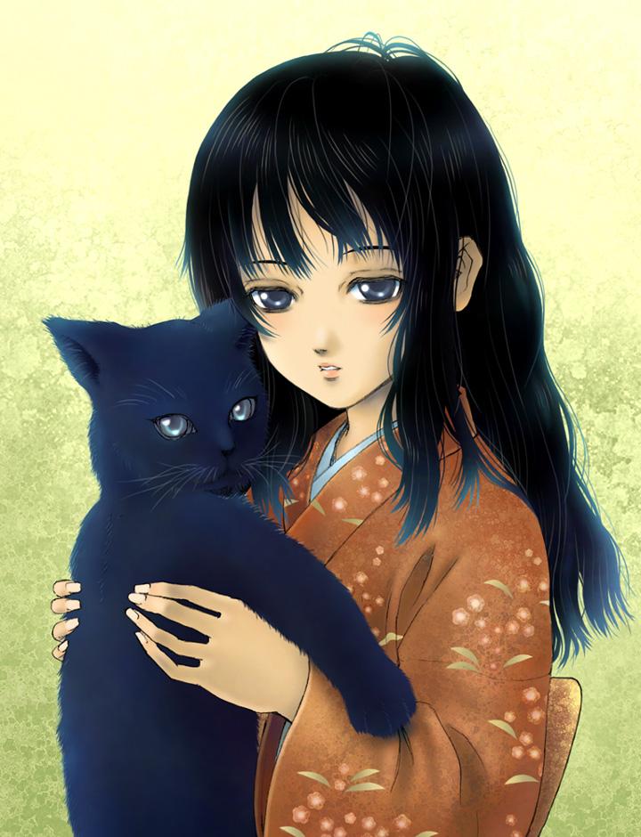 1girl black_cat black_hair blue_eyes breasts cat danboru_inu gokou_ruri japanese_clothes kimono long_hair object_hug ore_no_imouto_ga_konna_ni_kawaii_wake_ga_nai