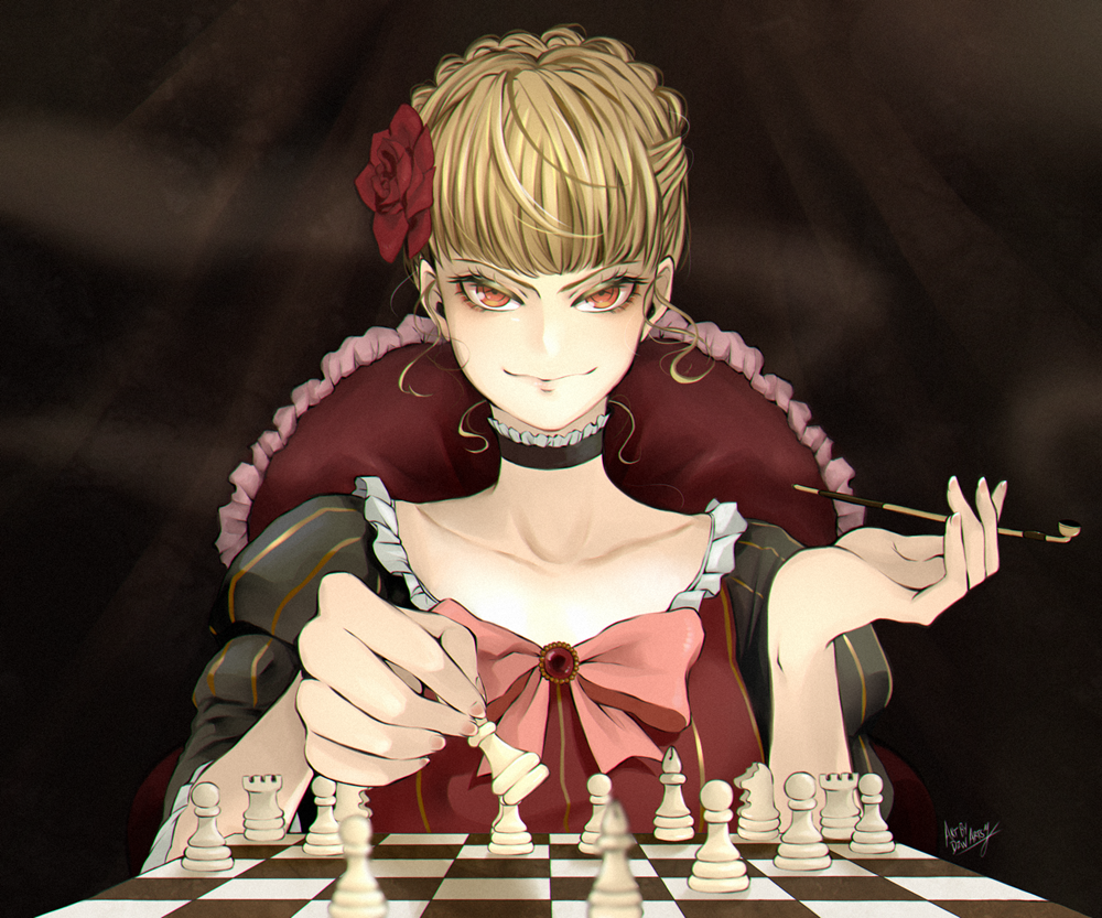 1girl beatrice_(umineko) bishop_(chess) blonde_hair board_game braid braided_bun chess chess_piece chessboard choker collarbone dress dzwartsy flower frilled_choker frilled_dress frills hair_flower hair_ornament holding holding_pipe juliet_sleeves king_(chess) kiseru knight_(chess) long_sleeves pawn pipe puffy_sleeves queen_(chess) red_eyes rook_(chess) smoking solo umineko_no_naku_koro_ni