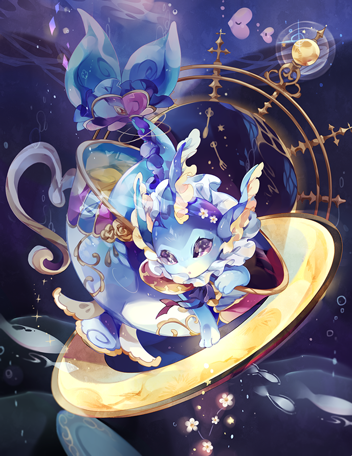 :o coco7 commentary cup flower gen_1_pokemon gen_3_pokemon looking_at_viewer luvdisc no_humans paws pokemon pokemon_(creature) teacup toes vaporeon white_flower