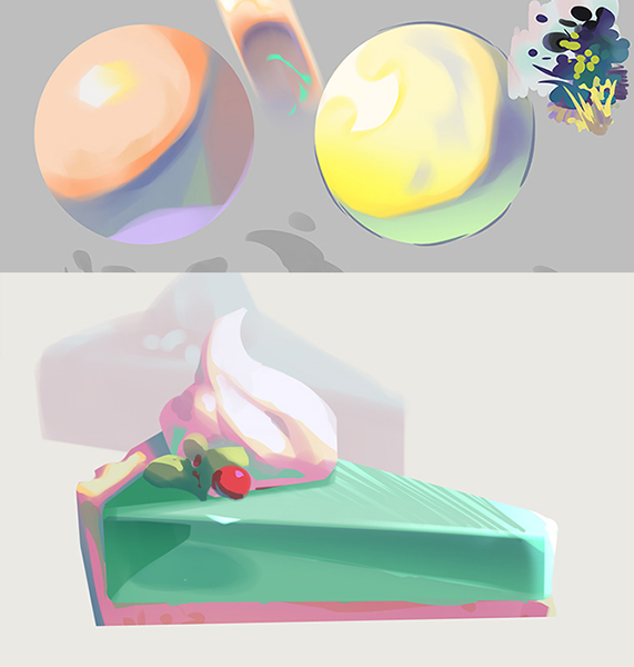 ball bush cake cake_slice cherry commentary_request donuttypd food fruit grass grey_background no_humans original plant shiny simple_background sketch still_life transparent whipped_cream