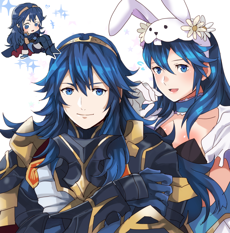 1girl alternate_costume animal_ears armor bangs blue_eyes blue_hair choker closed_mouth fire_emblem fire_emblem_awakening fire_emblem_heroes gloves long_hair looking_at_viewer lucina_(fire_emblem) official_alternate_costume open_mouth rabbit_ears rem_sora410 simple_background smile upper_body white_gloves