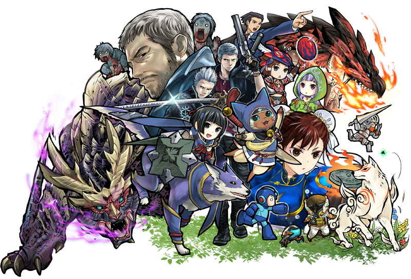 amaterasu beard black_hair breathing_fire canyne capcom chinese_clothes chris_redfield chun-li company_connection devil_may_cry devil_may_cry_5 dog facial_hair fangs felyne fire formal gun gyakuten_saiban magnamalo makaimura mash monster monster_hunter monster_hunter_rise monster_hunter_stories naruhodou_ryuuichi nero_(devil_may_cry) official_art ookami_(game) pointing rathalos resident_evil silver_hair simple_background sir_arthur_(makaimura) suit vergil weapon zombie