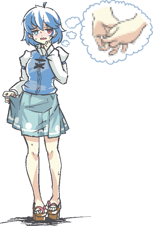 1girl ahoge arm_strap bangs bare_legs blue_eyes blue_hair blue_vest blush bright_pupils censored chained_tan commentary english_commentary feet_together full_body geta hand_on_own_face hand_up heterochromia holding_hands_is_lewd juliet_sleeves long_sleeves looking_to_the_side mosaic_censoring multicolored_hair nose_blush open_mouth popped_collar puffy_sleeves red_eyes shirt short_hair sidelocks simple_background skirt_hold sleeves_past_wrists solo standing sweat sweatdrop tatara_kogasa tengu-geta thought_bubble touhou two-tone_hair vest wavy_mouth white_background white_hair white_shirt