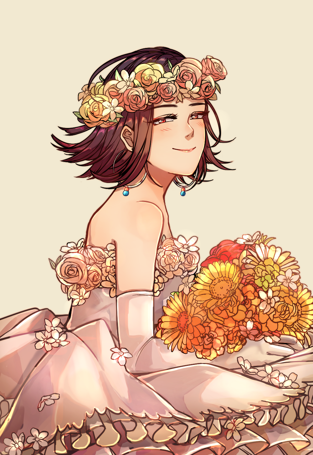 1girl araiguma_(gomipanda123) bare_shoulders beige_background brown_hair closed_mouth commentary_request dress dress_flower ear_piercing earrings elbow_gloves flipped_hair flower from_side gloves golden_kamuy hair_flower hair_ornament highres holding holding_flower hoop_earrings inkarmat jewelry lips looking_at_viewer looking_to_the_side medium_hair orange_flower piercing red_eyes red_flower rose simple_background sleeveless sleeveless_dress smile solo standing upper_body white_dress white_flower white_gloves white_rose