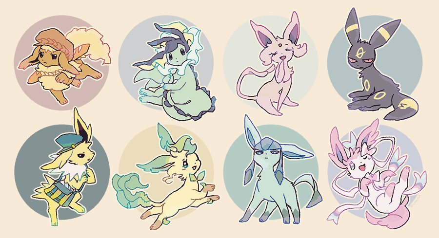 annoyed artist_name bag black_eyes blue_eyes blue_headwear blush cabbie_hat closed_eyes closed_mouth clothed_pokemon colored_sclera commentary_request espeon flareon forehead_jewel full_body gen_1_pokemon gen_2_pokemon gen_4_pokemon gen_6_pokemon glaceon green_eyes hand_up hands_up happy hat holding_own_tail jolteon leafeon light_blush looking_at_viewer lying no_humans on_back one_eye_closed open_mouth outline pokemon pokemon_(creature) purple_sclera red_eyes red_headwear red_sclera shoulder_bag signature simple_background sitting smile standing sylveon tail umbreon vaporeon yurano_(upao)