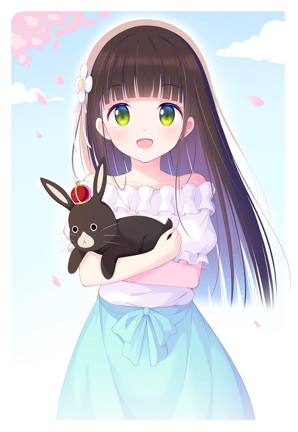 :d animal anko_(gochiusa) bangs blue_bow blue_skirt blunt_bangs bow brown_hair cherry_blossoms collarbone eyebrows_visible_through_hair flower gochuumon_wa_usagi_desu_ka? green_eyes hair_flower hair_ornament highres hime_cut holding holding_animal kagami_(galgamesion) long_hair looking_at_viewer off-shoulder_shirt off_shoulder open_mouth shiny shiny_hair shirt short_sleeves skirt smile spring_(season) straight_hair ujimatsu_chiya white_flower white_shirt