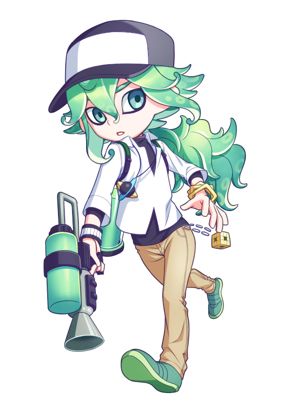 1boy bangle baseball_cap bracelet collared_shirt commentary_request cube full_body green_footwear hat holding jewelry male_focus n_(pokemon) nagiru necklace pants pokemon pokemon_(game) pokemon_bw shirt shoes solo splatoon_(series) two-tone_headwear undershirt weapon white_shirt wristband