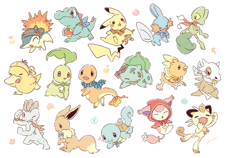1boy :3 :t ^_^ apple arm_up artist_name bandana berry_(pokemon) bitten_apple black_eyes bone brown_eyes bubble bulbasaur capelet charmander chikorita closed_eyes closed_mouth clothed_pokemon colored_sclera commentary_request cubone cyndaquil eevee everyone fangs fire flexing food food_bite from_side fruit full_body fushigi_no_dungeon gen_1_pokemon gen_2_pokemon gen_3_pokemon grin half-closed_eyes hand_up happy holding holding_bone holding_food holding_stick hood hooded_capelet leg_up looking_back looking_down machop meowth mouth_hold mudkip one_eye_closed open_mouth oran_berry pecha_berry pikachu pokemon pokemon_(creature) pokemon_(game) pokemon_mystery_dungeon pose psyduck red_capelet red_eyes ribs running seed shell signature simple_background skitty skull smile squirtle standing standing_on_one_leg stick swimming teeth torchic totodile treecko white_background yellow_sclera yurano_(upao)