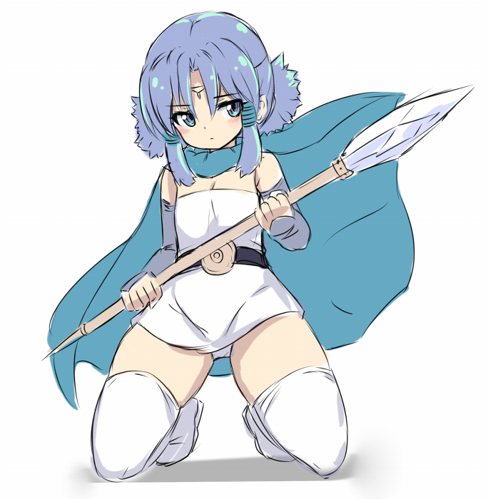 1girl bangs bare_shoulders blue_cape blue_eyes blue_hair boots cape closed_mouth dragon_quest dragon_quest_monsters dragon_quest_monsters_plus dress elbow_gloves eyebrows_visible_through_hair facial_mark fingerless_gloves forehead_mark full_body gloves grey_gloves hair_between_eyes holding holding_spear holding_weapon karukan_(monjya) kneeling low_twintails marumo parted_bangs polearm shadow solo spear strapless strapless_dress thigh-highs thigh_boots twintails weapon white_background white_dress white_footwear white_legwear