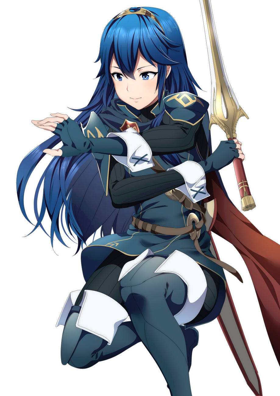 1girl ameno_(a_meno0) blue_eyes blue_hair cape elbow_gloves falchion_(fire_emblem) fighting_stance fingerless_gloves fire_emblem gloves highres long_hair lucina_(fire_emblem) simple_background smile solo sword symbol-shaped_pupils tiara weapon white_background
