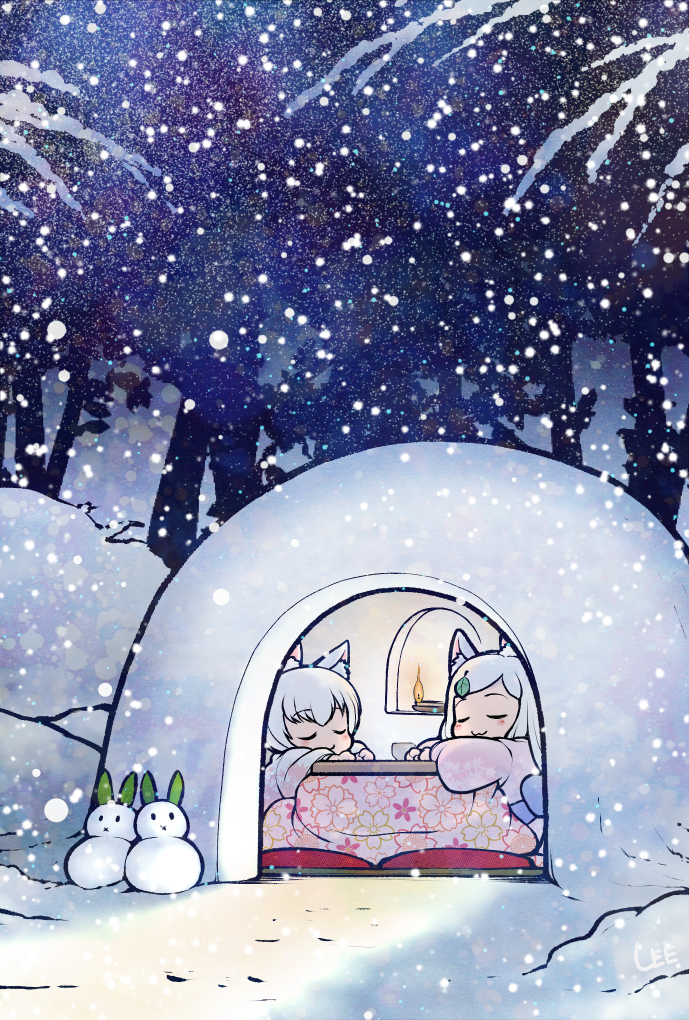 2girls :3 animal_ear_fluff animal_ears candle closed_eyes commentary fox_ears fox_girl igloo kotatsu leaf leaf_on_head lee_(colt) multiple_girls original outdoors smile snow snow_shelter snowing snowman table tree white_hair