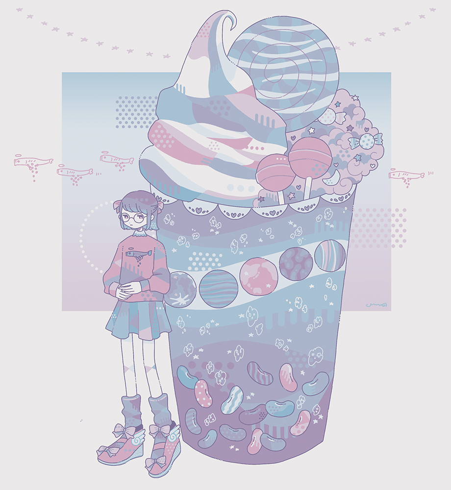 1girl bow candy fish food glasses heart limited_palette lollipop long_sleeves omura06 original pink_shirt print_shirt shirt shoe_bow shoes short_hair skirt solo standing star_(symbol) wide_shot