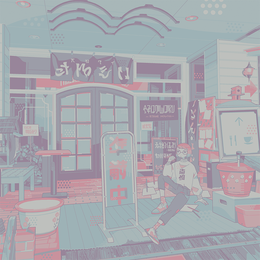 1girl aqua_hair arrow_(symbol) bangs door gradient_hair hand_up knee_up limited_palette multicolored_hair muted_color omura06 original paper pencil pink_hair shoes solo table wide_shot