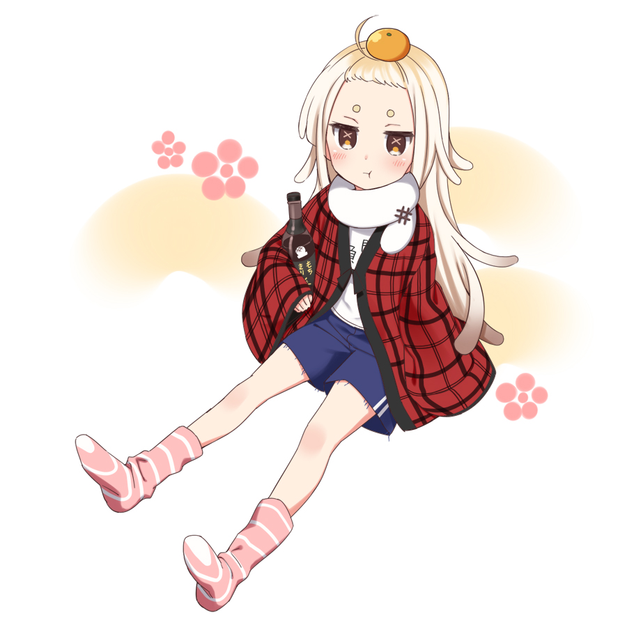 1girl :t blue_shorts blush bottle brown_eyes closed_mouth food food_on_head fruit full_body gym_shorts kisaragi_hina light_brown_hair long_hair long_sleeves looking_at_viewer mandarin_orange no_shoes object_on_head open_clothes pink_lips pout saigou_r_irori sana_channel shirt short_eyebrows short_shorts shorts sitting sleeves_past_wrists socks soles solo striped striped_legwear thick_eyebrows very_long_hair virtual_youtuber white_shirt wide_sleeves
