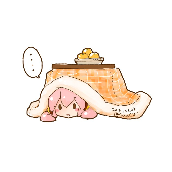 ... 1girl basket blush_stickers commentary dated food fruit kotatsu mandarin_orange octopus open_mouth pink_hair sangatsu_youka solid_oval_eyes solo speech_bubble spoken_ellipsis table takoluka tentacle_hair twitter_username under_kotatsu under_table vocaloid white_background