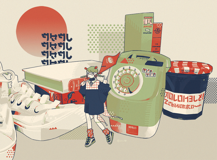 1girl book circle flag green_hair grey_footwear hands_up holding holding_flag jar limited_palette long_sleeves minigirl omura06 original phone print_legwear puffy_long_sleeves puffy_sleeves red_legwear rotary_phone shoes socks solo standing v white_footwear wide_shot
