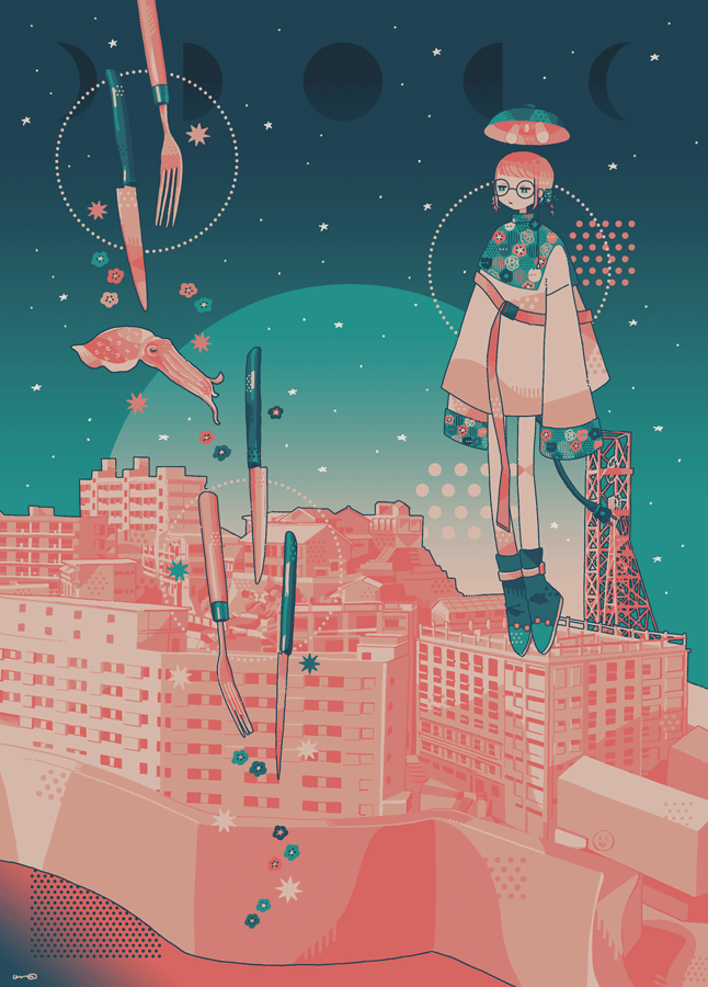 1girl aqua_flower building crescent_moon cuttlefish flower fork full_moon half_moon knife limited_palette long_sleeves moon moon_phases omura06 original pink_flower pink_hair short_hair sleeves_past_fingers sleeves_past_wrists solo wide_shot