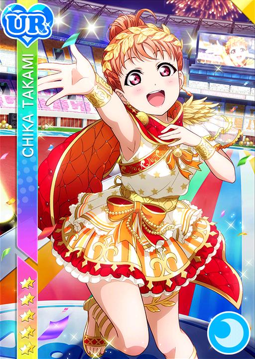 armpits blush cape character_name dress love_live!_school_idol_festival love_live!_sunshine!! orange_hair red_eyes short_hair smile sports takami_chika