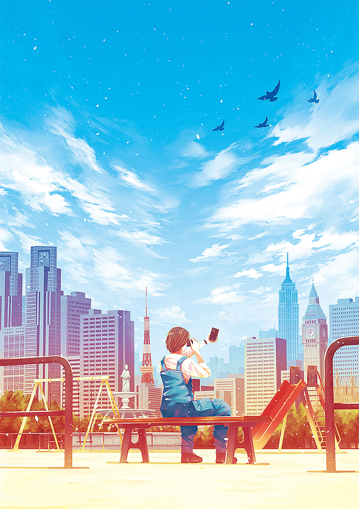 1girl arms_up bench bird black_hair blue_overalls blue_sky building city clock clouds cloudy_sky craft-cs fountain from_behind holding long_sleeves original playground shadow shirt short_hair sitting sky slide solo swing_set white_shirt wide_shot