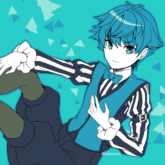 1boy bangs blue_eyes blue_hair blue_shorts blue_theme blue_vest bow bowtie child expressionless fate/extra fate/grand_order fate_(series) hans_christian_andersen_(fate) leggings long_sleeves looking_at_viewer male_focus mepo_(raven0) shirt short_hair shorts simple_background solo striped striped_shirt vest