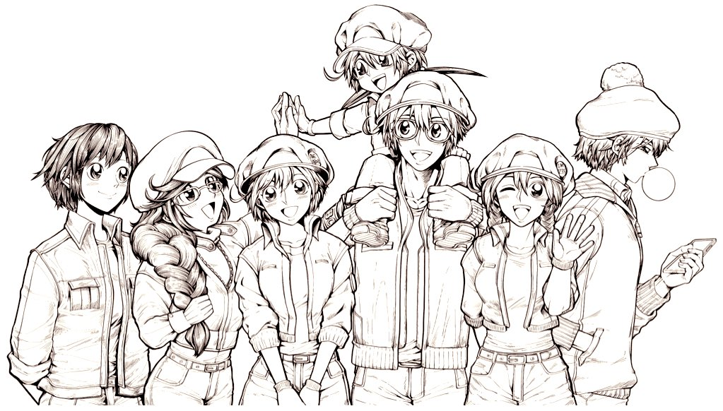2boys 5girls 871_(hatarakanai_saibou) aa-5100 ae-3803 arms_behind_back beanie braid bubble_blowing carrying chewing_gum child erythroblast_(hataraku_saibou) glasses gloves greyscale hand_in_pocket hat hatarakanai_saibou hataraku_saibou hataraku_saibou_baby hataraku_saibou_black hataraku_saibou_friend high_five im-1235 jacket long_hair looking_at_another looking_at_viewer low_twintails lucylusstories monochrome multiple_boys multiple_girls open_mouth pom_pom_(clothes) red_blood_cell_(hataraku_saibou) shoes short_hair shoulder_carry single_braid sneakers twin_braids twintails uniform upper_body