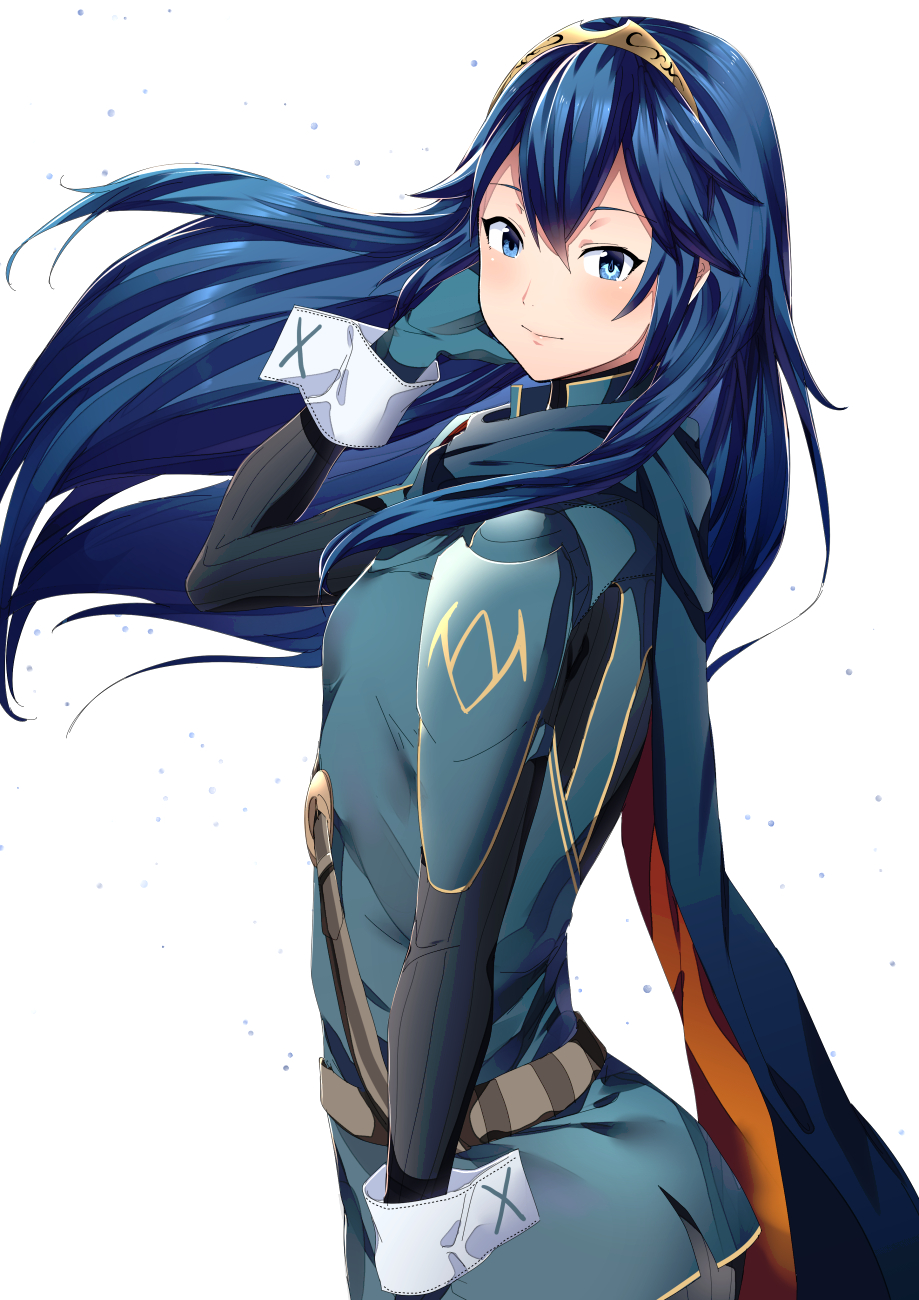 1girl ameno_(a_meno0) blue_eyes blue_hair cape fire_emblem fire_emblem_awakening flat_chest gloves highres light_blush long_hair looking_at_viewer lucina_(fire_emblem) simple_background smile solo symbol-shaped_pupils tiara white_background wind