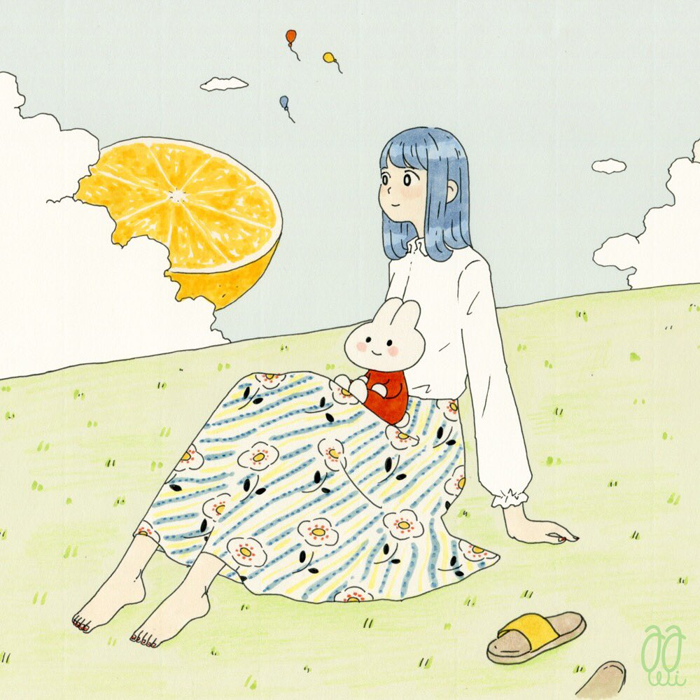 1girl awai880 balloon barefoot blue_hair blue_sky blush clouds cloudy_sky food fruit grass long_skirt long_sleeves medium_hair orange original outdoors print_skirt sandals sandals_removed shirt signature sitting skirt sky smile solo surreal white_shirt wide_shot