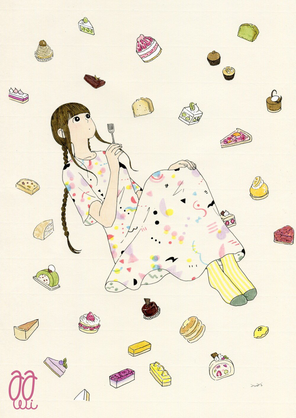 1girl awai880 bangs black_eyes blunt_bangs braid bright_pupils brown_hair cake dress food fork highres holding holding_fork knees_up long_hair original pancake pie print_dress short_sleeves signature socks solo stack_of_pancakes strawberry_shortcake twin_braids white_pupils wide_shot