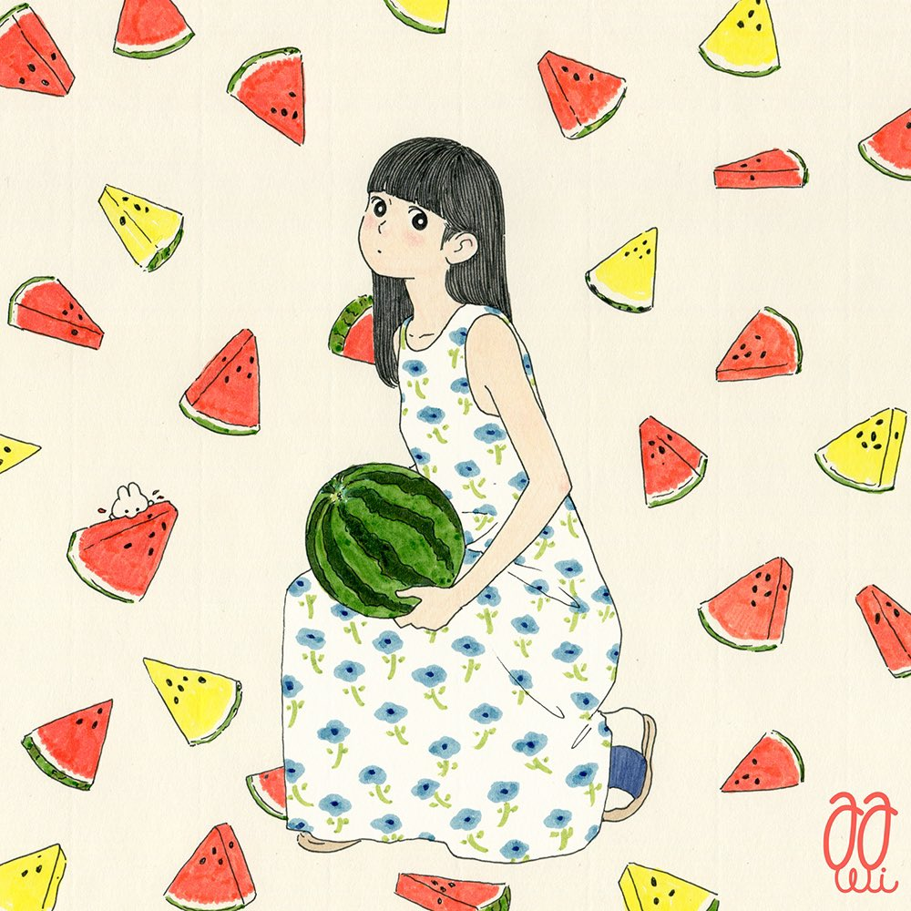 1girl awai880 bangs black_eyes black_hair blue_flower blunt_bangs blush bright_pupils dress floral_print flower food fruit holding holding_food holding_fruit long_hair original print_dress signature solo tan_background watermelon watermelon_slice white_dress white_pupils