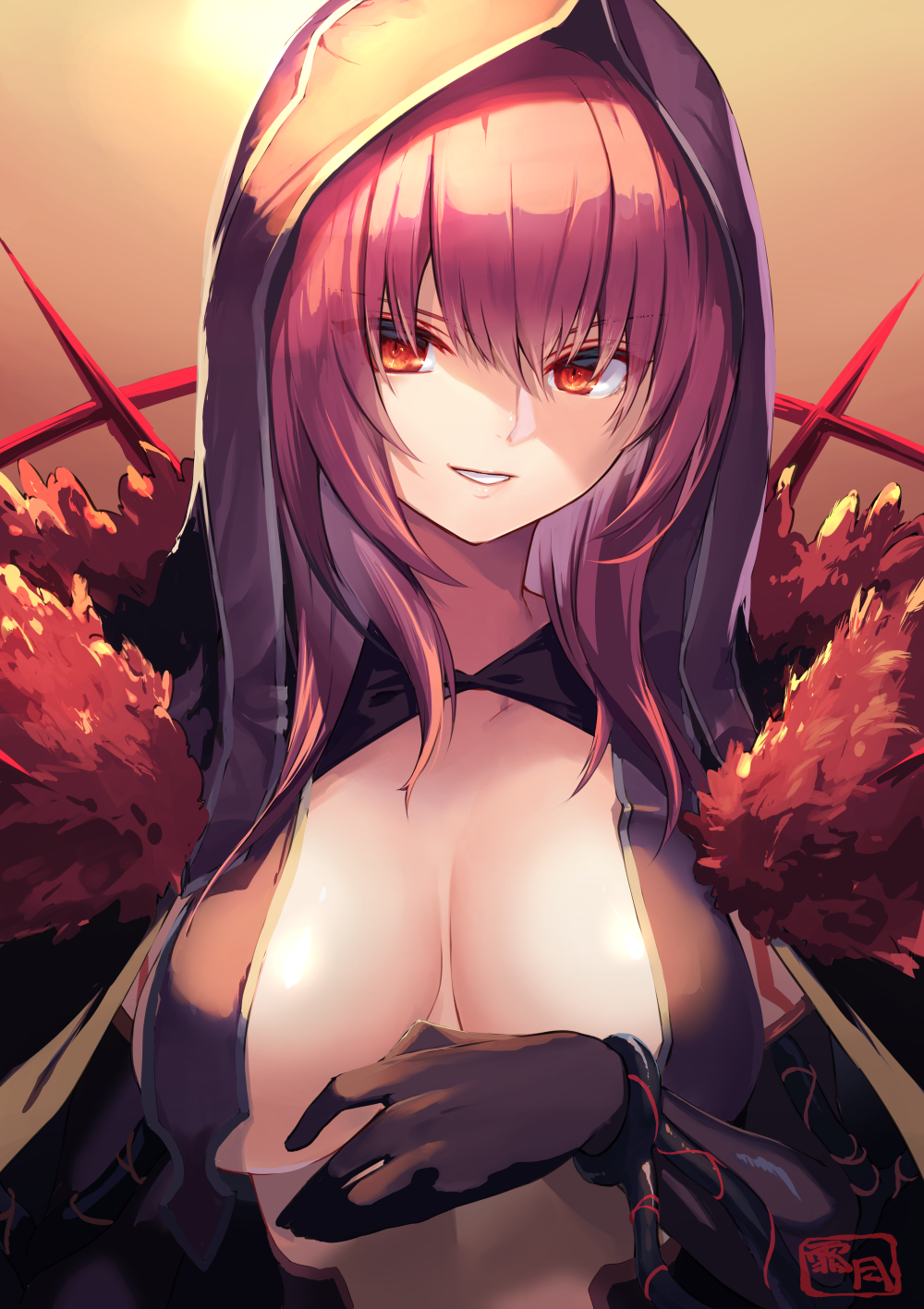 1girl bangs breast_curtains breasts fate/grand_order fate_(series) fur_collar gloves gradient gradient_background highres hood hood_up large_breasts long_hair looking_at_viewer purple_hair red_eyes scathach_(fate)_(all) scathach_(fate/grand_order) shimotsuki_shio smile spikes
