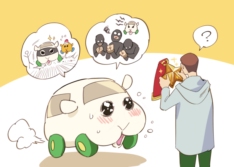 1boy blush brown_hair car flying_sweatdrops grey_jacket ground_vehicle guinea_pig hood hooded_jacket jacket medal molcar motor_vehicle police_car pui_pui_molcar rotating_light shiromo_(pui_pui_molcar) simple_background sparkle speech_bubble