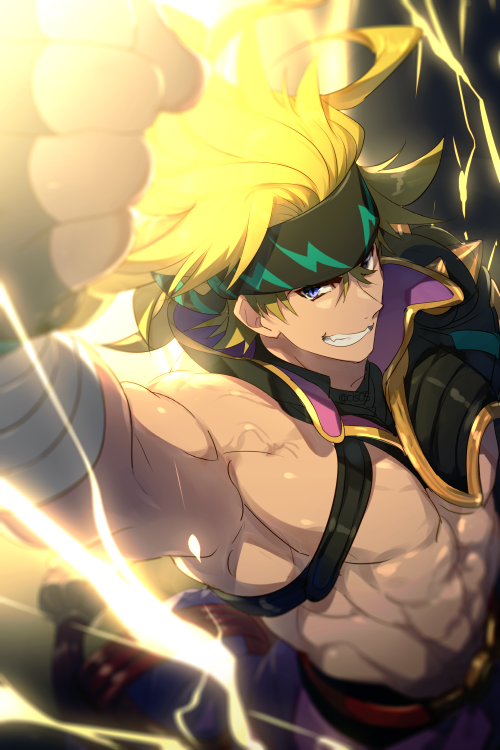 1boy abs baggy_pants bandaged_arm bandages biceps black_gloves blonde_hair blue_eyes cis05 fate/grand_order fate_(series) fingerless_gloves gloves grin headband heian_warrior_attire_(fate/grand_order) lightning long_hair looking_at_viewer muscular pants punching sakata_kintoki_(fate/grand_order) smile uppercut