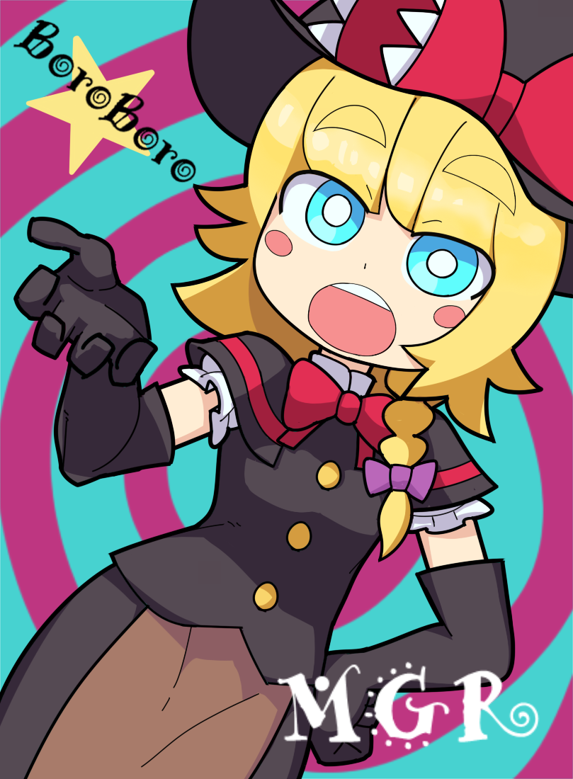 1girl apron bangs black_dress black_gloves black_headwear blonde_hair blouse blue_background blue_eyes blush_stickers bow bowtie braid brown_apron buttons character_name chibi commentary cookie_(touhou) dress dutch_angle elbow_gloves eyebrows_visible_through_hair gloves hair_bow hand_on_hip hand_up hat hat_bow hospital_king kirisame_marisa long_hair looking_to_the_side meguru_(cookie) open_mouth pink_bow purple_background red_bow red_neckwear short_sleeves single_braid solo spiral_background standing star_(symbol) thick_eyebrows touhou two-tone_background upper_teeth waist_apron white_blouse witch_hat