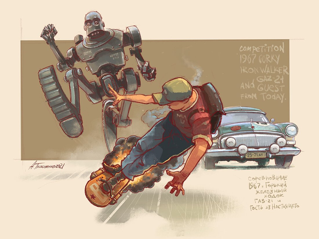 1boy artist_name backpack bag baseball_cap car clenched_hands denim english_text ground_vehicle hat hover_board jeans looking_back mecha motor_vehicle open_hands original pants racing red_shirt robot running russian_text science_fiction shirt t-shirt tkachenko_andrey