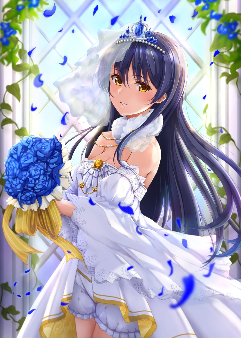 1girl bangs blue_flower blue_hair blush bouquet bridal_veil ca_ba_ya_ki commentary_request cowboy_shot detached_sleeves dress flower frills hair_between_eyes holding holding_bouquet long_hair looking_at_viewer love_live! love_live!_school_idol_festival love_live!_school_idol_project smile solo sonoda_umi standing strapless strapless_dress swept_bangs tiara veil wedding_dress white_dress yellow_eyes