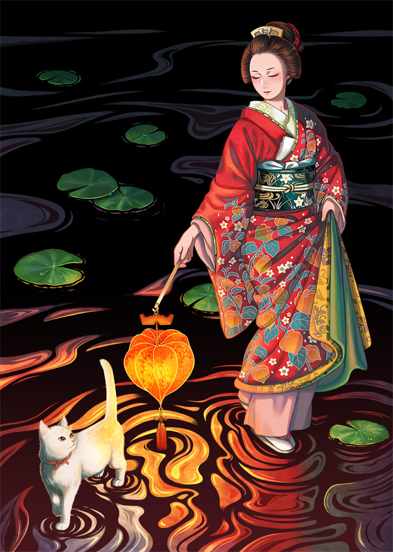 1girl black_hair blush cat closed_eyes holding holding_lantern japanese_clothes june_mina kimono lantern lily_pad long_sleeves obi original print_kimono ripples sash smile solo standing white_cat wide_shot