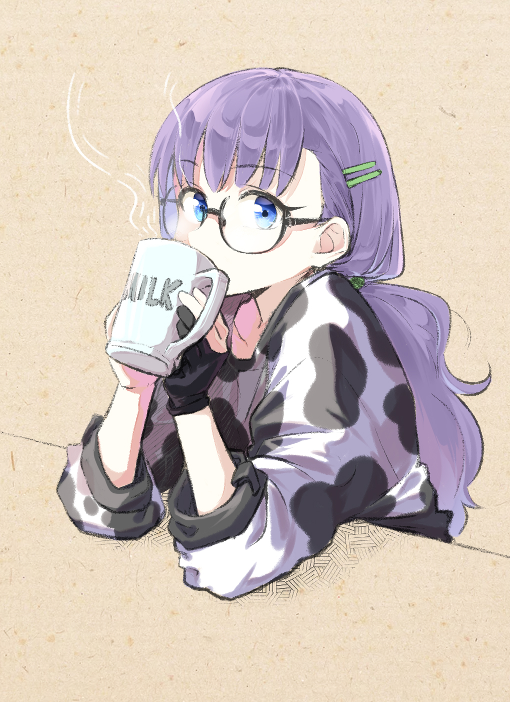 1girl animal_print bangs black_gloves blue_eyes breasts coffeekite contemporary cow_print cup drinking fate/extra fate/extra_ccc fate_(series) glasses gloves hair_ornament hairclip highres long_hair long_sleeves looking_at_viewer meltryllis mug partially_fingerless_gloves ponytail purple_hair shirt small_breasts very_long_hair white_shirt