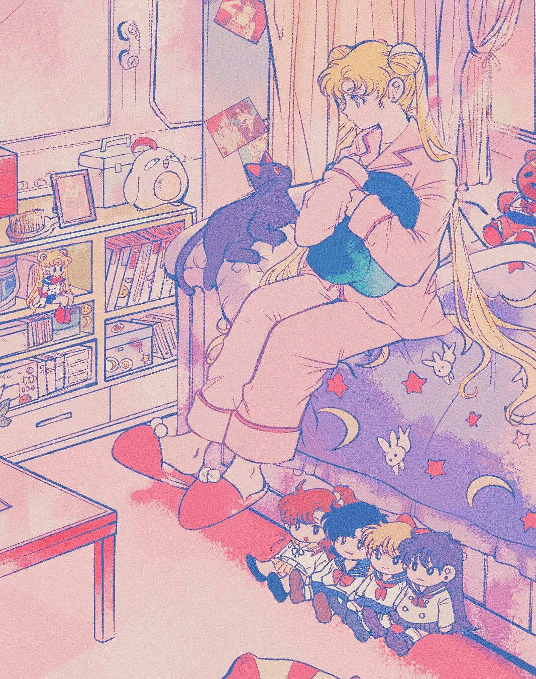 1girl animal_print bedroom bishoujo_senshi_sailor_moon black_cat blonde_hair blue_eyes book bunny_print cat character_doll comb crescent curtains full_body highres indoors long_hair long_sleeves luna_(sailor_moon) no_socks on_bed pajamas photo_(object) picture_frame pikurusu pink_background pink_pajamas red_footwear sailor_moon shelf sitting sleeves_past_wrists slippers star_(symbol) star_print stuffed_animal stuffed_toy symbol_commentary teddy_bear tsukino_usagi twintails very_long_hair