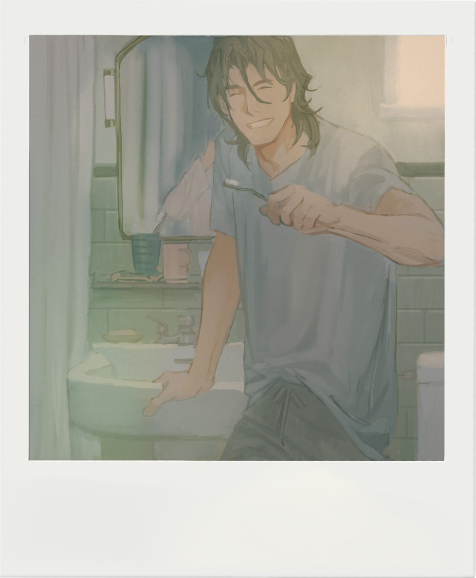 1boy bangs bathroom brown_hair closed_eyes cup facing_viewer framed glass grey_shirt gundam gundam_00 hair_between_eyes holding holding_toothbrush huangdanlan indoors lockon_stratos male_focus medium_hair mirror open_mouth pants photo_(object) shirt sink smile solo standing t-shirt teeth toothbrush