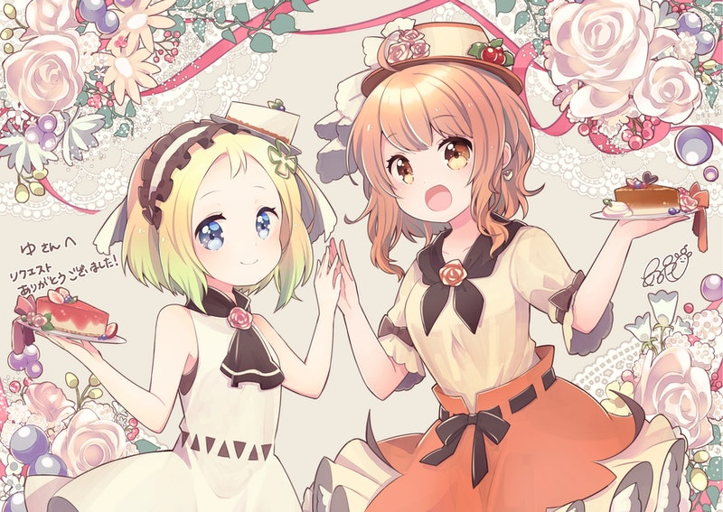 2girls :d aruya_(flosrota) bare_arms bare_shoulders black_neckwear blonde_hair blue_eyes blush brown_eyes brown_hair brown_headwear brown_skirt cake cake_slice closed_mouth commission dress floral_background flower food forehead frilled_hairband frills gradient_hair green_hair hairband hands_together hands_up hat hat_flower holding holding_plate looking_at_viewer multicolored_hair multiple_girls open_mouth original plate puffy_short_sleeves puffy_sleeves rose shirt short_sleeves skeb_commission skirt sleeveless sleeveless_dress smile white_dress white_flower white_hairband white_rose white_shirt